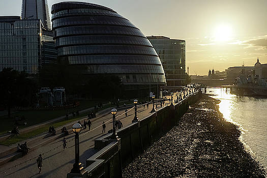 River Thames Low Tide Sunset - London City Hall South Bank Southwark London UK by Georgia Mizuleva