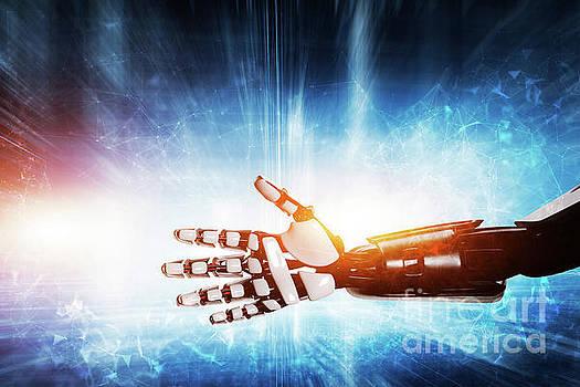 Robot hand on modern background. by Michal Bednarek