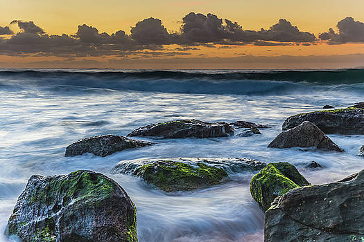 Rocks and Waves at Sunrise by Merrillie Redden