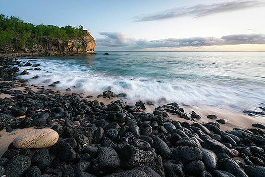 Rocky Beach in Kauai at Sunset by James Udall