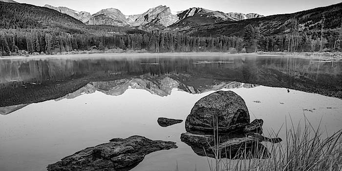 Rocky Mountain Landscape Panorama over Sprague Lake - Black and White by Gregory Ballos