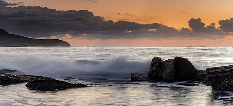 Rocky Panorama Sunrise Seascape by Merrillie Redden