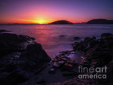 Rocky Beach Shades of Sunset Light by Mike Reid