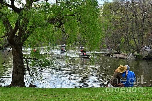Romance by the Pond - Central Park New York by Miriam Danar