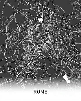 Rome map black and white by Delphimages Photo Creations