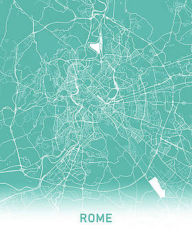 Rome map teal by Delphimages Photo Creations