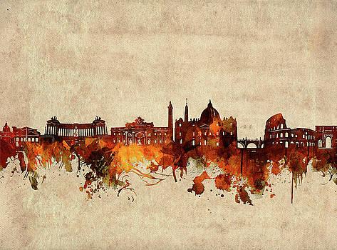 Rome Skyline Sepia by Bekim Art