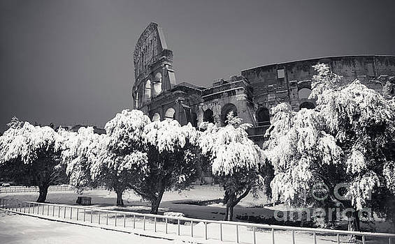 Rome Under Snow - Colosseum Black And White by Stefano Senise