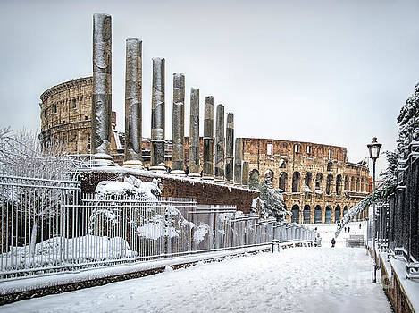 Rome Under Snow - Colosseum by Stefano Senise