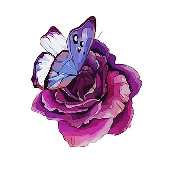 Rose and Butterfly  by Gabriella Weninger - David