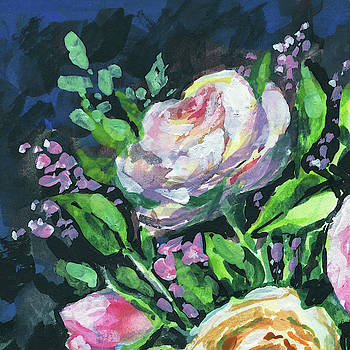 Rose And Lilac Flowers Bouquet Floral Impressionism  by Irina Sztukowski