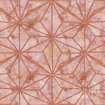 Tina Lavoie - Rose Gold Metal Marble Abstract Geometric Art