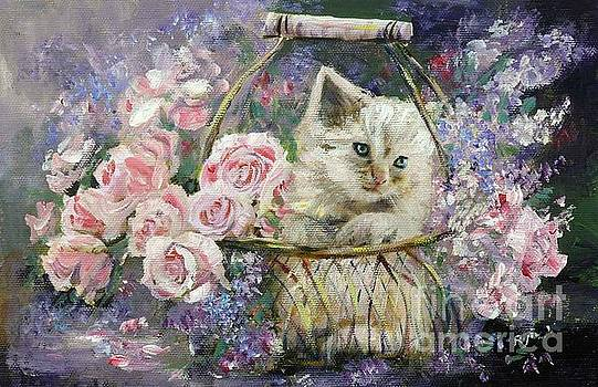 Rosebuds, Lilac and Kitten in Copper Wire Basket by Ryn Shell