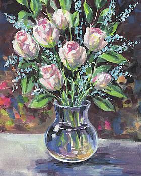Roses Bouquet In Glass Vase Floral Impressionism  by Irina Sztukowski