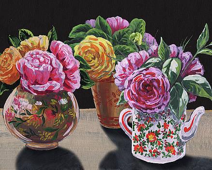 Irina Sztukowski - Roses In Three Vases Floral Impressionism
