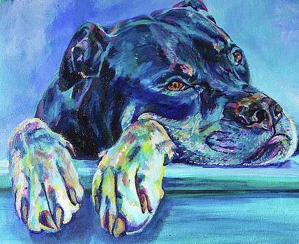 Rottweiler with big paws by Karin McCombe Jones