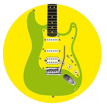 Round Green Guitar Icon by Bigalbaloo Stock
