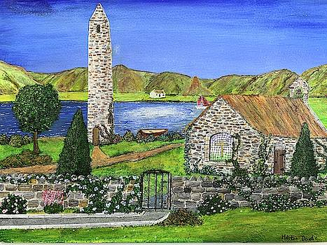 Round Tower And Old Church Painting by Martin Dardis
