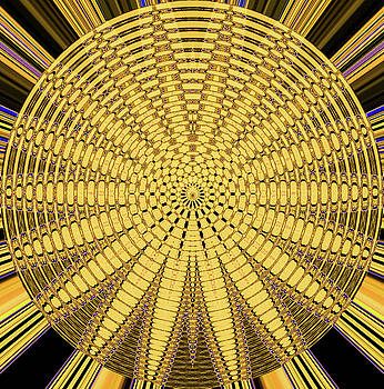 Round Yellow Abstract 5125dbtw3ay by Tom Janca