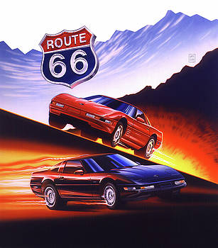 ROUTE 66 Firebird and Corvette by Garth Glazier