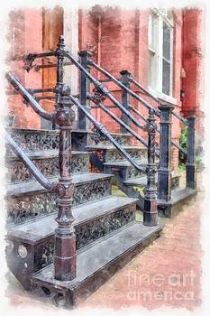 Rowhouse Stairs Washington DC Neighborhood by Edward Fielding