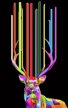 Rubino Deer Flower Rainbow Floral Lines by Tony Rubino