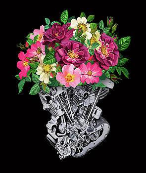 Rubino Engine and Flowers by Tony Rubino