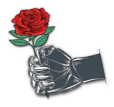 Rubino Robot Fist and Flower by Tony Rubino
