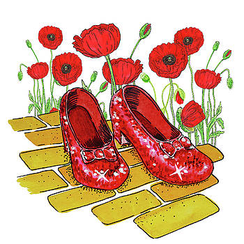 Ruby Slippers Red Poppies Wizard Of Oz by Irina Sztukowski