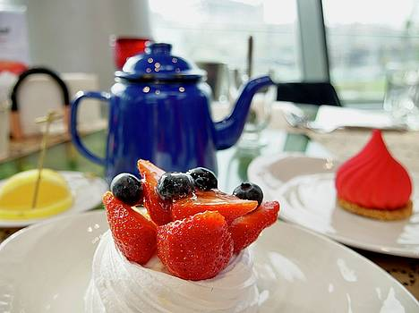 Russian traditional tea dessert berry cake with a tea by Tamara Sushko