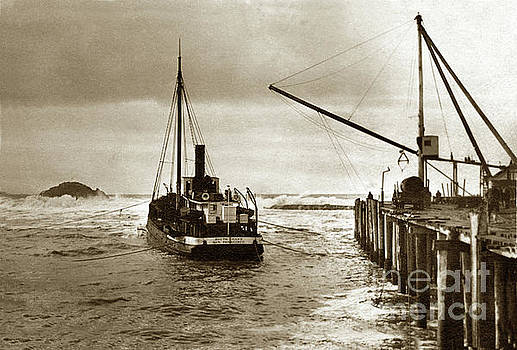 California Views Archives Mr Pat Hathaway Archives - S. S. South Coast a coastal schooner loading at a wharf with Sea