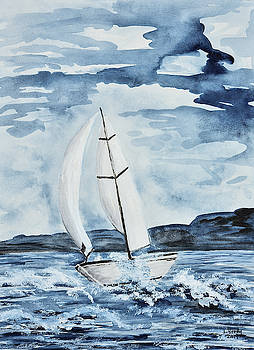 Sailboat in Blue by Linda Brody