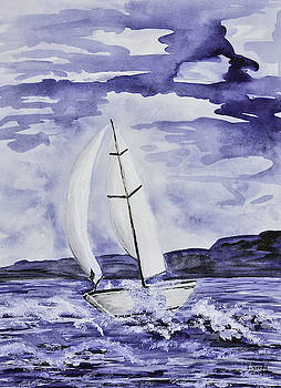 Sailboat in Purple by Linda Brody