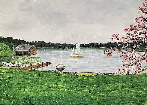 Sailboat On The Lake Painting by Martin Dardis
