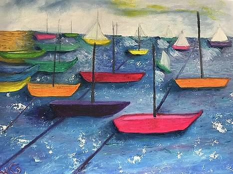 Sailboats in the late afternoon by Susan Grunin