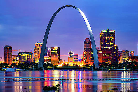 Saint Louis Skyline and Arch Over The Mississippi River by Gregory Ballos