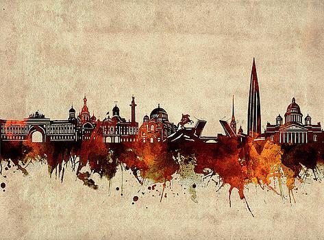 Saint Petersburg Skyline Sepia by Bekim Art