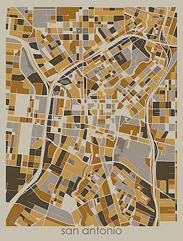 San Antonio Map Retro 4 by Bekim M