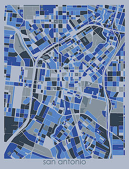 San Antonio Map Retro 5 by Bekim M