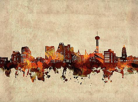 San Antonio Skyline Sepia by Bekim Art