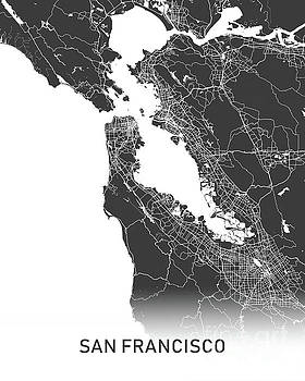 San Francisco map black and white by Delphimages Photo Creations