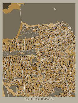 San Francisco Map Retro 4 by Bekim M