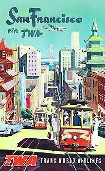 San Francisco via TWA travel poster by Unknown
