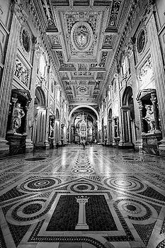 San Giovanni In Laterano Rome Italy BW by Joan Carroll