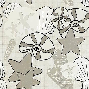 Sandy Shell Seamless Pattern by Priscilla Wolfe
