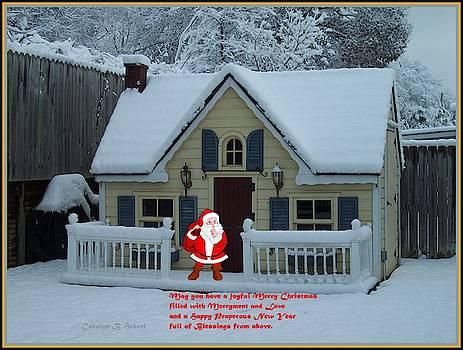 Santa and Playhouse Christmas Card by Carolyn Hebert