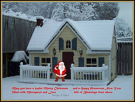Santa and Large Playhouse with Snow by Carolyn Hebert