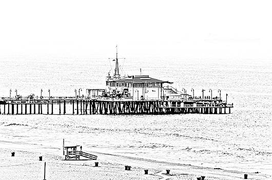 Santa Monica Pier  BandW by Gene Parks