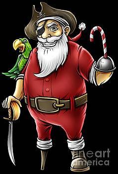 Santa Pirate Funny Christmas Candy Cane Hook Hand by Festivalshirt