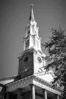 Savannah Georgia Independent Presbyterian Church Steeple In Charcoal by Carol Montoya